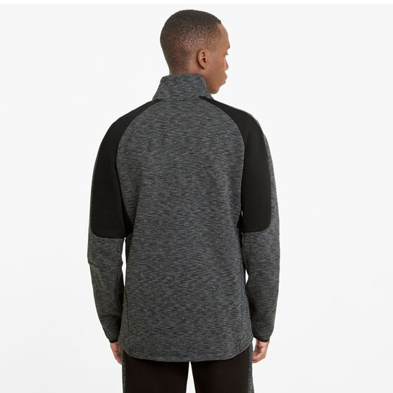 Puma Mens EvoStripe Half Zip Sweatshirt, Black, rebel_hi-res