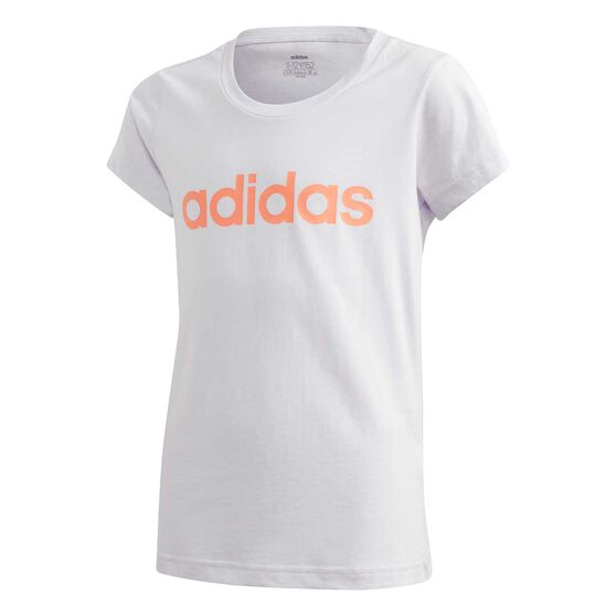 adidas Girls Essentials Linear Tee White / Coral 6, White / Coral, rebel_hi-res