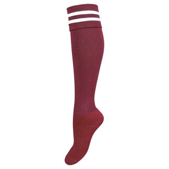 Burley Kids Football Socks, Maroon  /  White, rebel_hi-res