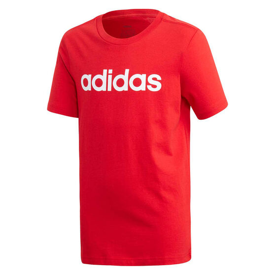 adidas Boys Essentials Linear Tee Red/White 8, Red/White, rebel_hi-res