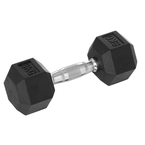 Celsius 8kg Rubber Hex Dumbbell, , rebel_hi-res