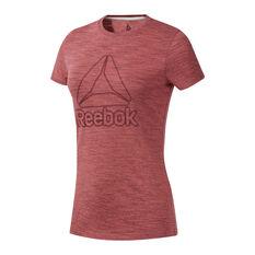 Reebok Womens TE Marble Logo Tee Red XS, Red, rebel_hi-res