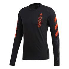 adidas Mens Fast Graphic Long Sleeve Tee Black S, Black, rebel_hi-res