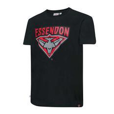 Essendon Bombers Mens Supporter Logo Tee Black S, Black, rebel_hi-res