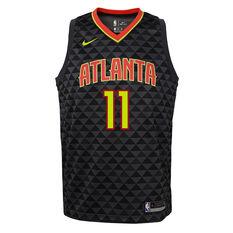 Nike Atlanta Hawks Trae Young 2020/21 Kids Icon Jersey Black S, Black, rebel_hi-res