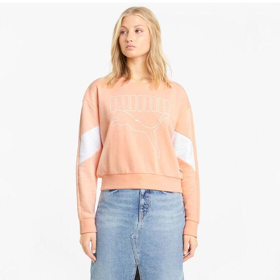 Puma Womens Rebel Crew Sweatshirt, Orange, rebel_hi-res