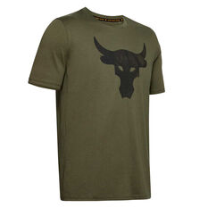 Under Armour Mens Project Rock Brahma Bull Tee Green XS, Green, rebel_hi-res
