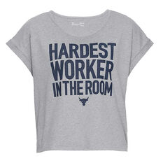 Under Armour Womens Project Rock Hardest Worker Cropped Tee Grey XS, Grey, rebel_hi-res