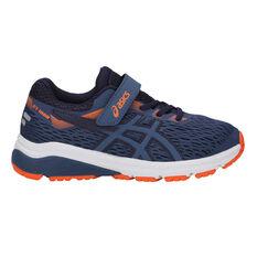 Asics GT 1000 7 Kids Running Shoes Navy / Orange US 1, Navy / Orange, rebel_hi-res