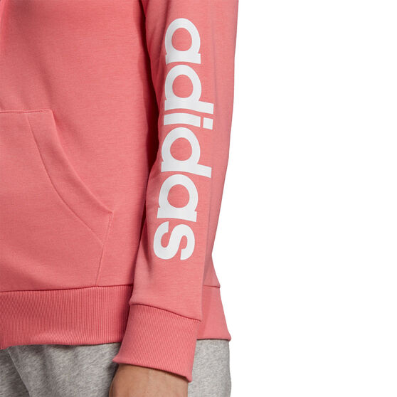 adidas Womens Essentials Logo Full Zip Hoodie, Orange, rebel_hi-res