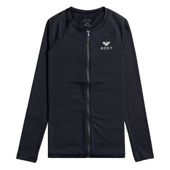 Roxy Womens Essential Long Sleeve  Zipped Rash Vest, Black, rebel_hi-res