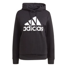 adidas Womens Badge Of Sport Fleece Hoodie Black XS, Black, rebel_hi-res