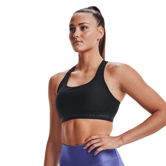 Under Armour Womens Mid Crossback Sports Bra, Black, rebel_hi-res