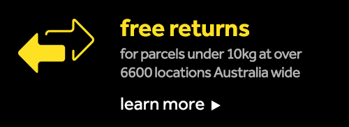 Free Returns with Parcel Point and Australia Post - view terms & conditions.