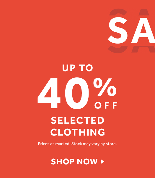 up to 40% off Selected Clothing at rebel