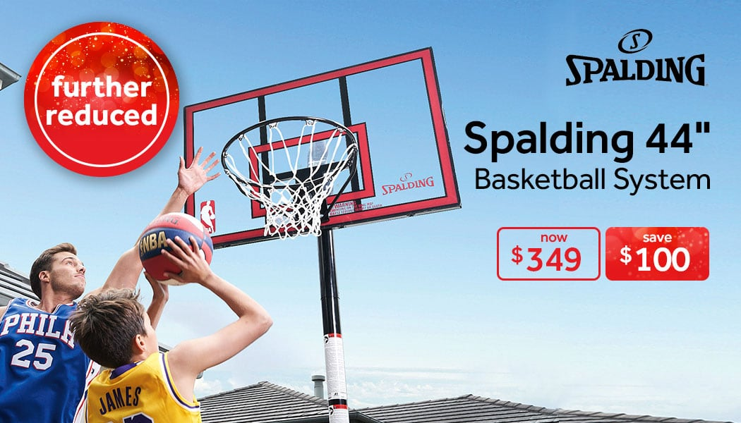 save $100 on the Spalding 44inch basketball system at rebel
